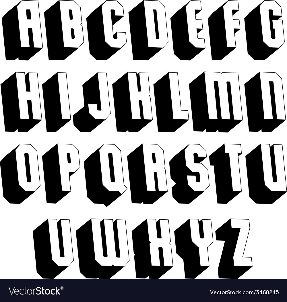 Geometric black and white 3d font vector   Price: 1 Credit (USD $1)