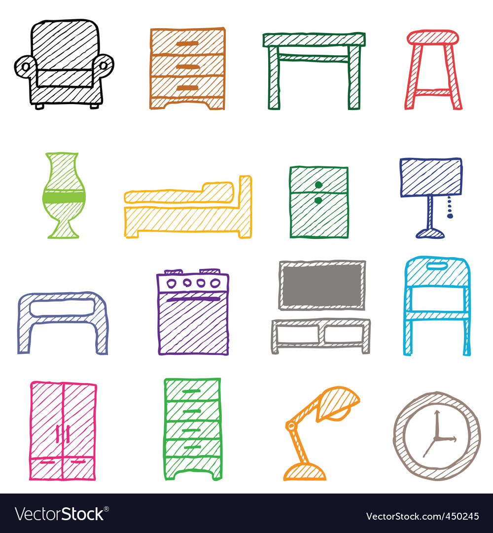 Hand drawing furniture icons vector | Price: 1 Credit (USD $1)