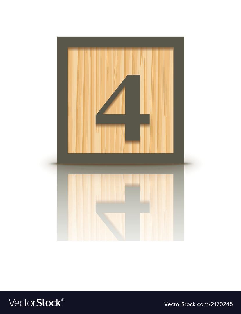 Number 4 wooden alphabet block vector | Price: 1 Credit (USD $1)
