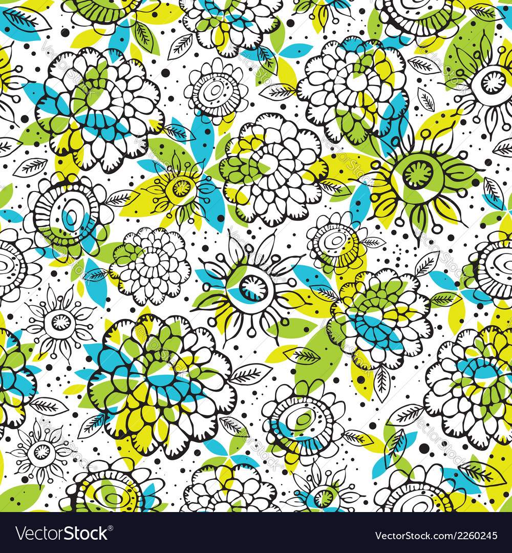 Pattern of hand draw flowers vector | Price: 1 Credit (USD $1)