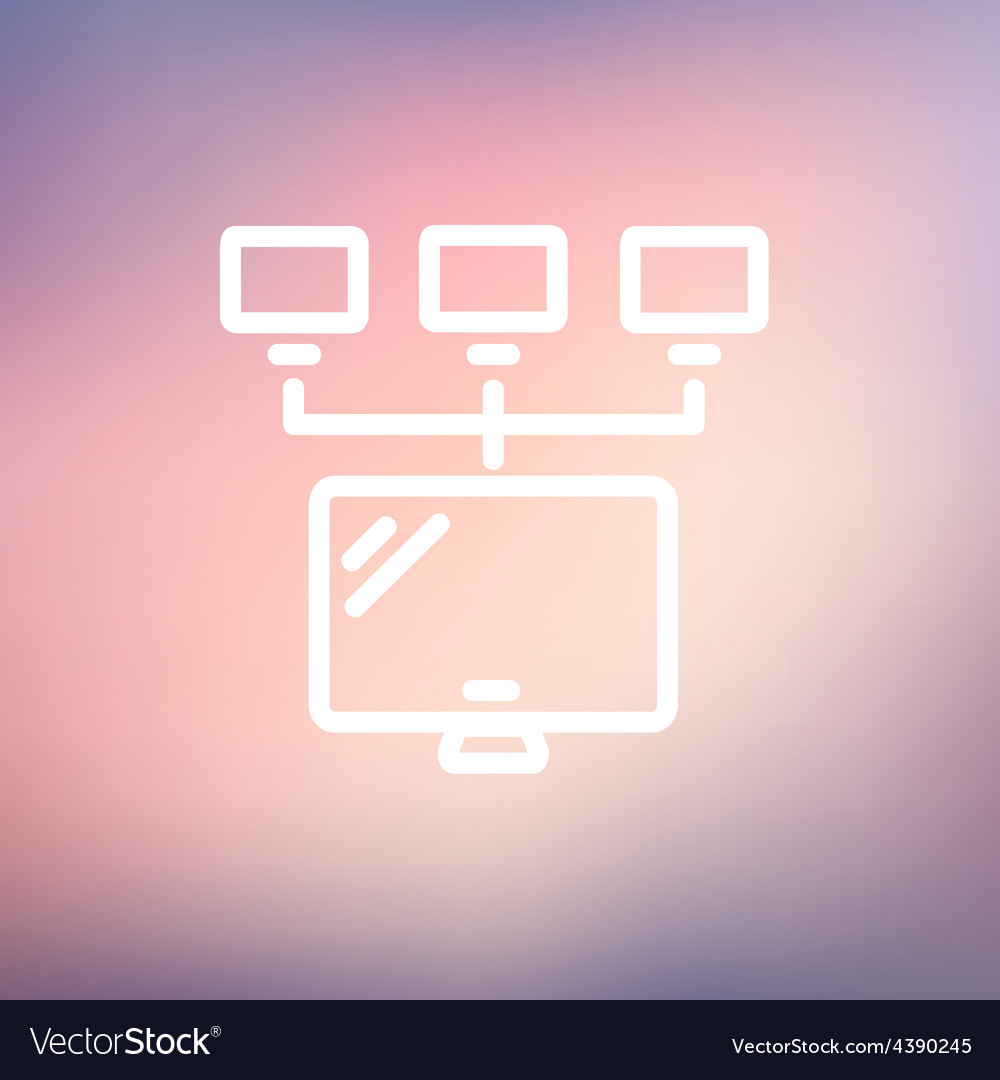 Screen with cameras thin line icon vector | Price: 1 Credit (USD $1)