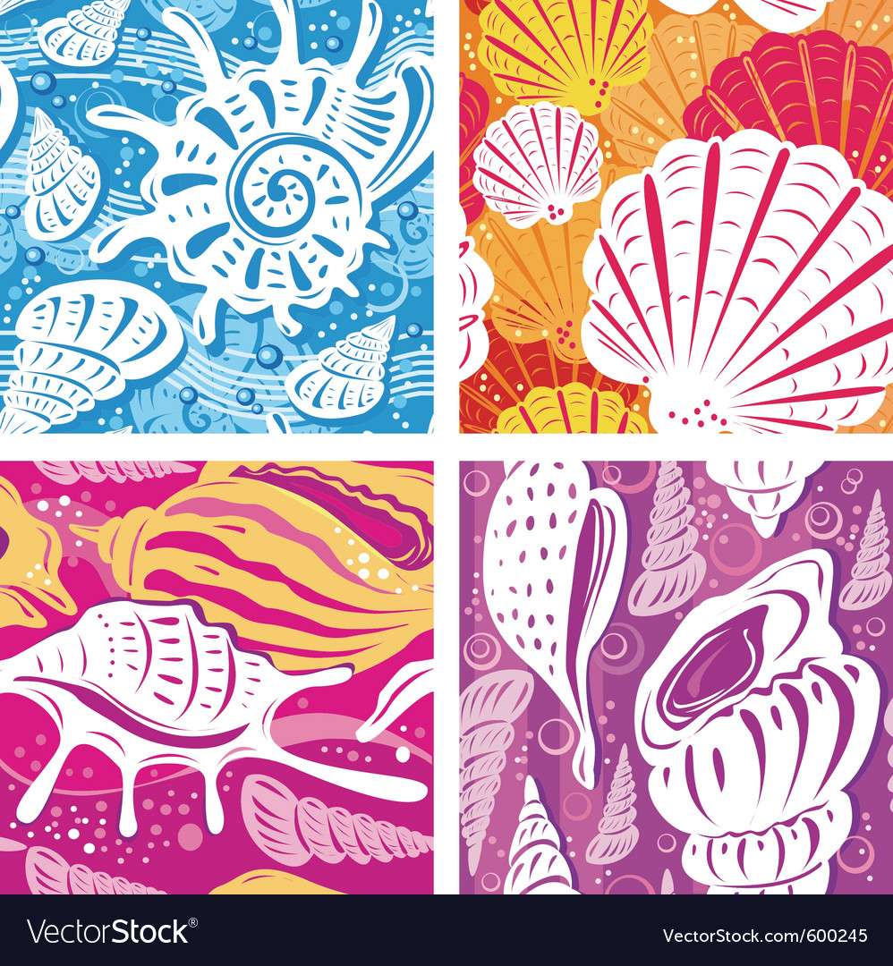 Seamless shell pattern vector | Price: 3 Credit (USD $3)