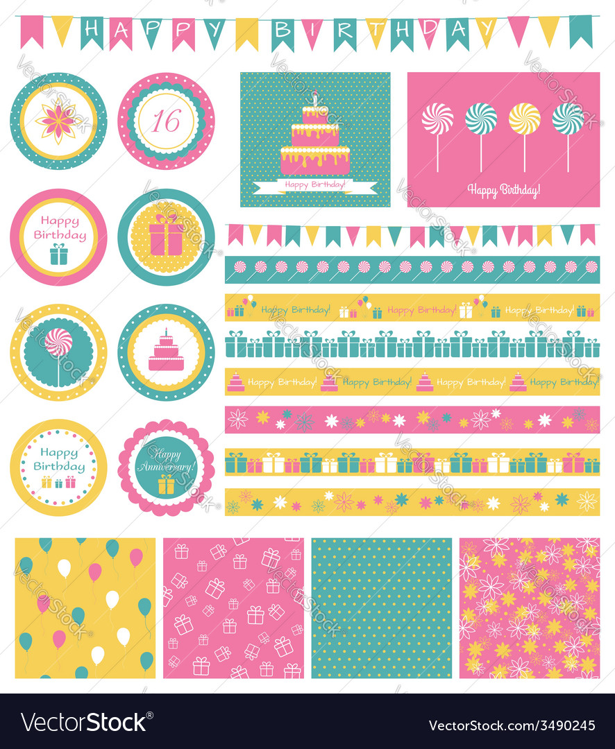 Set of birthday design elements vector | Price: 1 Credit (USD $1)