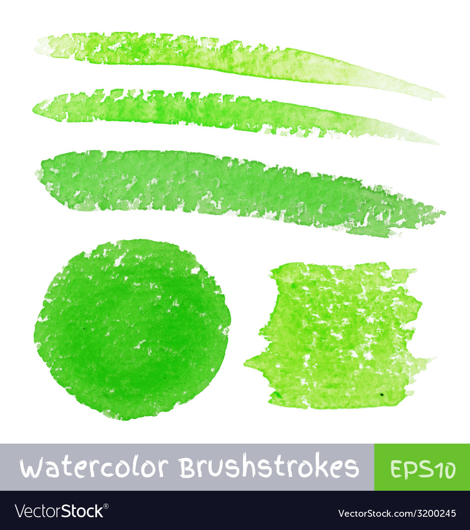 Set of green watercolor brush strokes vector | Price: 1 Credit (USD $1)