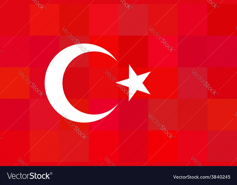 Turkey flag on unusual red squares background vector | Price: 1 Credit (USD $1)