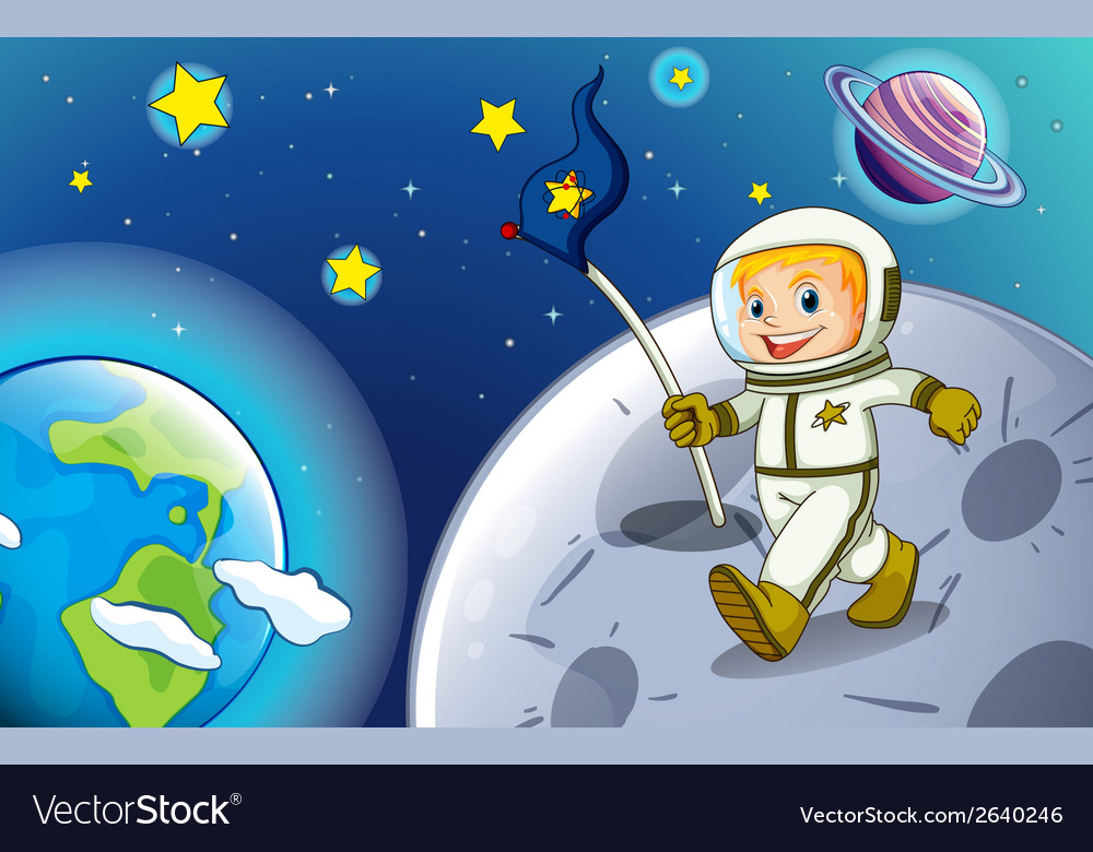 A smiling astronaut in the outerspace vector | Price: 3 Credit (USD $3)
