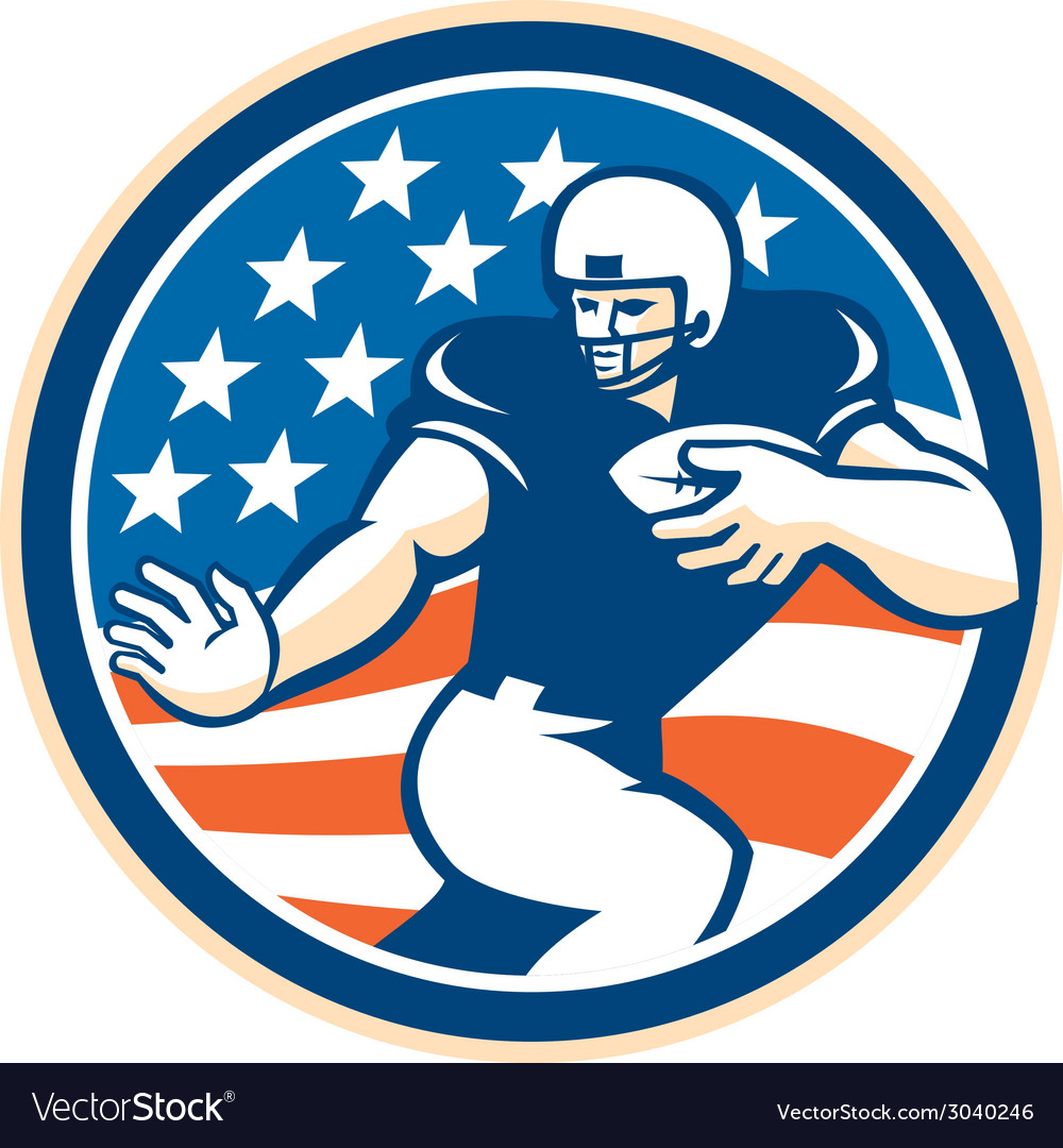 American football running back fending circle vector | Price: 1 Credit (USD $1)