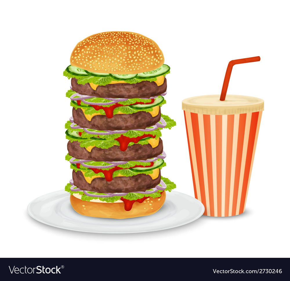 Big hamburger and drink vector | Price: 3 Credit (USD $3)
