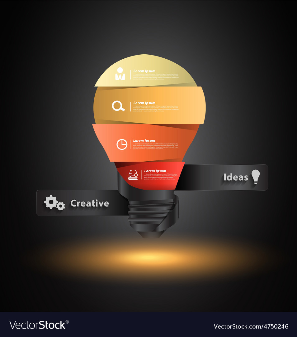 Creative light bulb idea with number banners vector | Price: 3 Credit (USD $3)