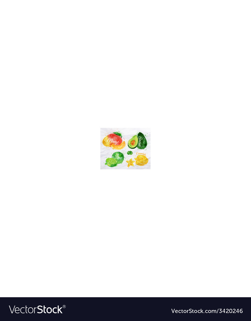 Exotic fruit watercolor mango avocado carambola vector | Price: 1 Credit (USD $1)