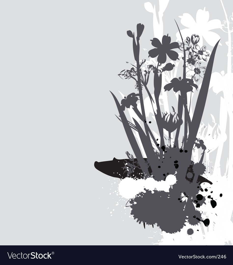 Flowers and ink drips monotone vector | Price: 1 Credit (USD $1)