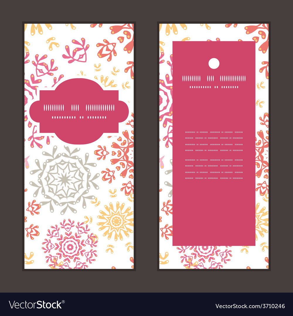 Folk floral circles abstract vertical frame vector | Price: 1 Credit (USD $1)