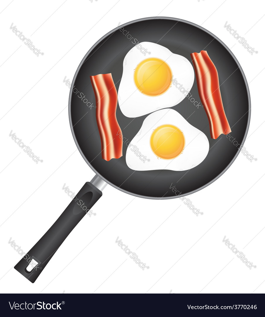 Fried eggs in a frying pan 03 vector | Price: 1 Credit (USD $1)