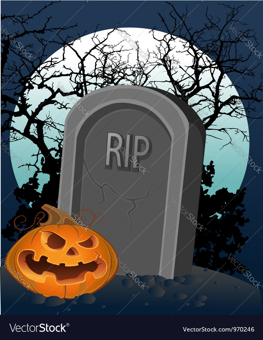 Halloween decoration - a grave with a pumpkin vector | Price: 3 Credit (USD $3)