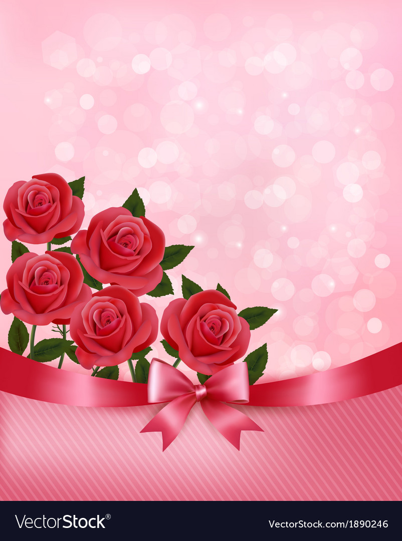 Holiday background with bouquet of pink flowers vector | Price: 1 Credit (USD $1)