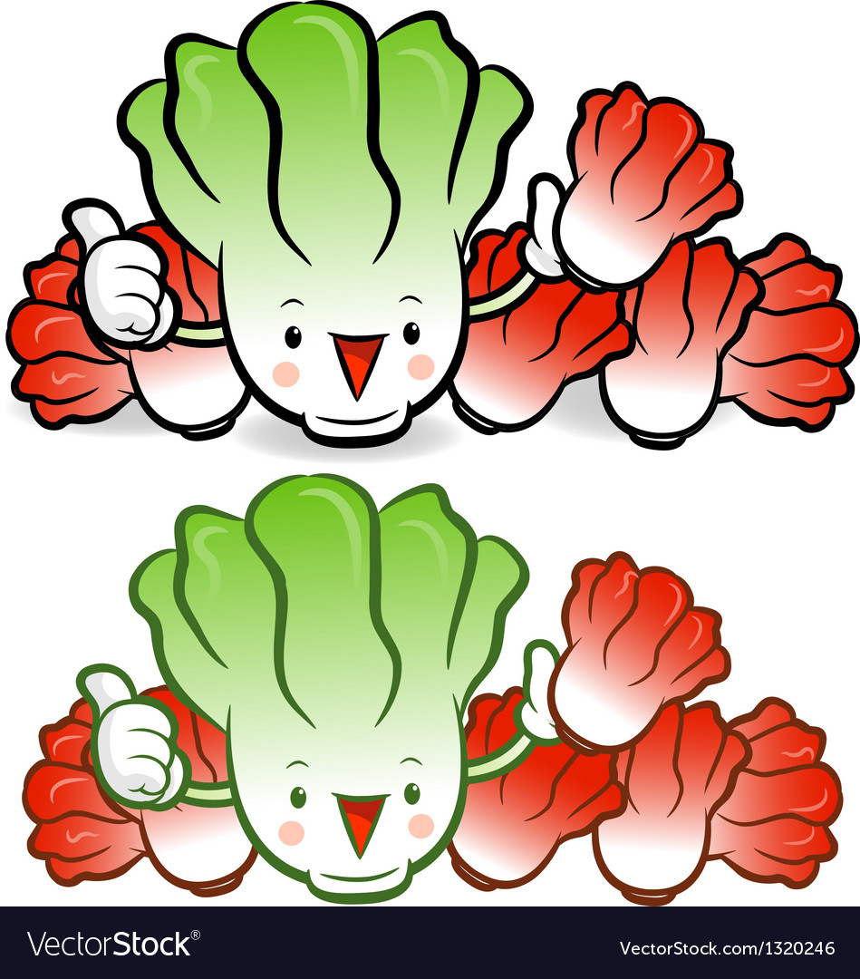 Napa cabbage characters to promote vegetable sell vector | Price: 1 Credit (USD $1)