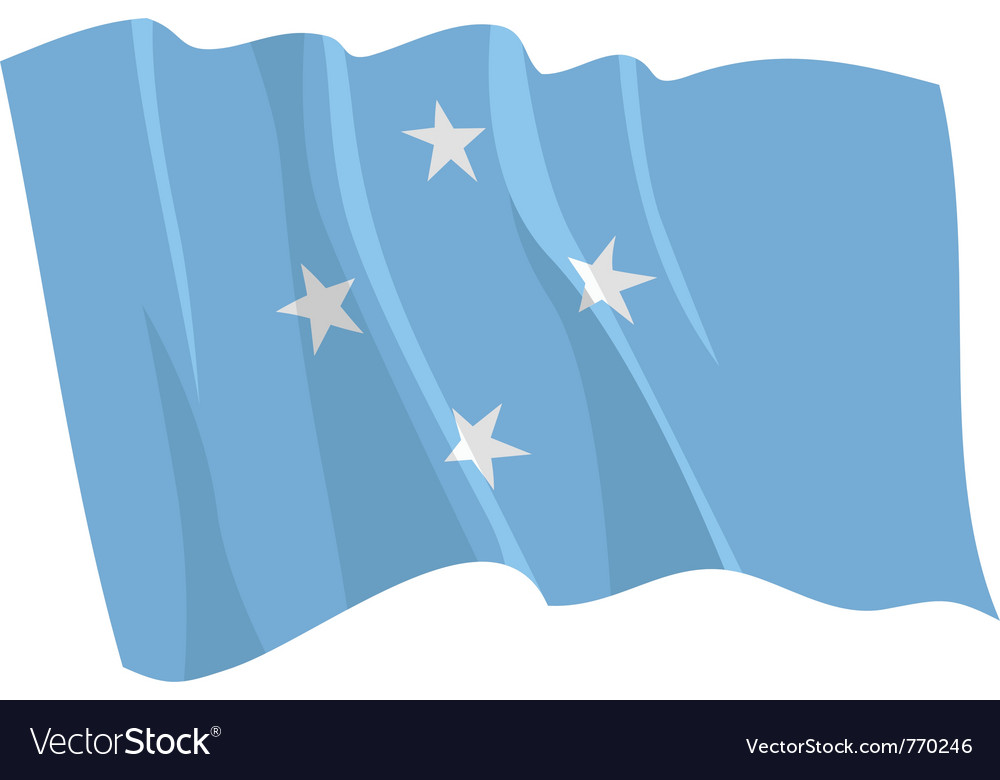 Political waving flag of micronesia vector | Price: 1 Credit (USD $1)