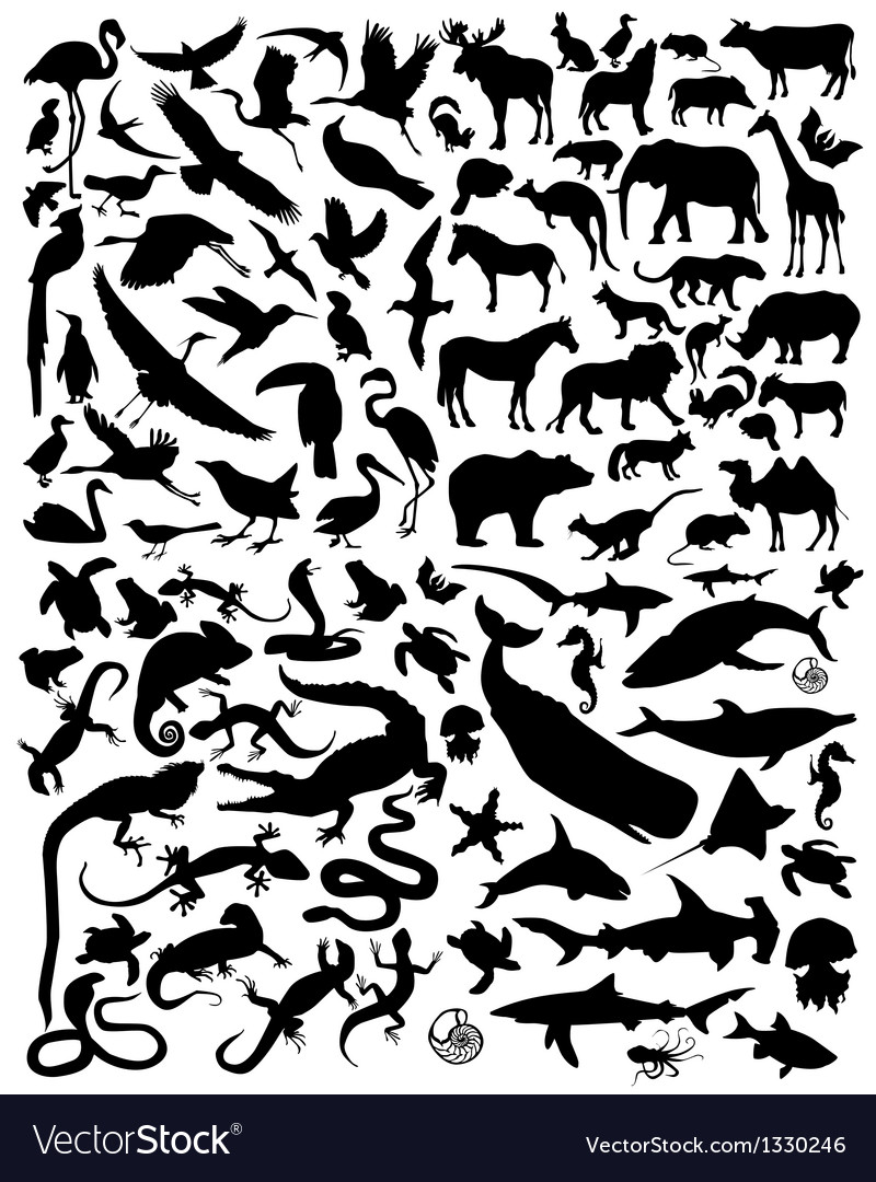 Silhouette animals vector | Price: 1 Credit (USD $1)