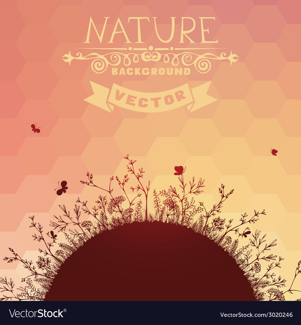 Sunset nature background vector | Price: 1 Credit (USD $1)