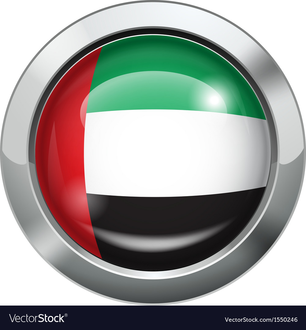 United arab emirates flag metal button vector | Price: 1 Credit (USD $1)