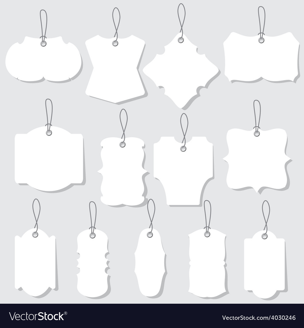 White blank labels or tags with ropes vector | Price: 1 Credit (USD $1)
