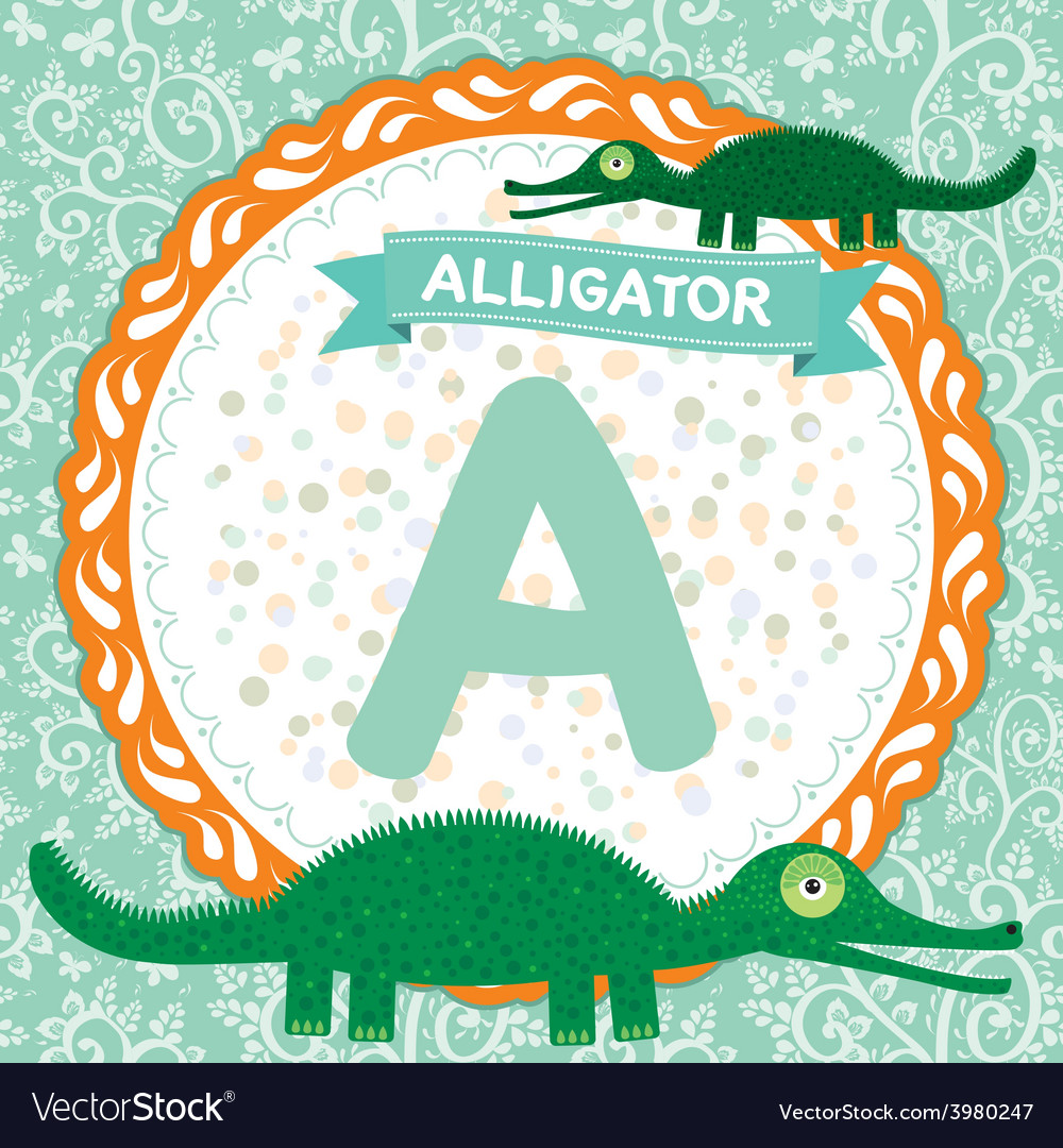 Abc animals a is alligator childrens english vector | Price: 1 Credit (USD $1)