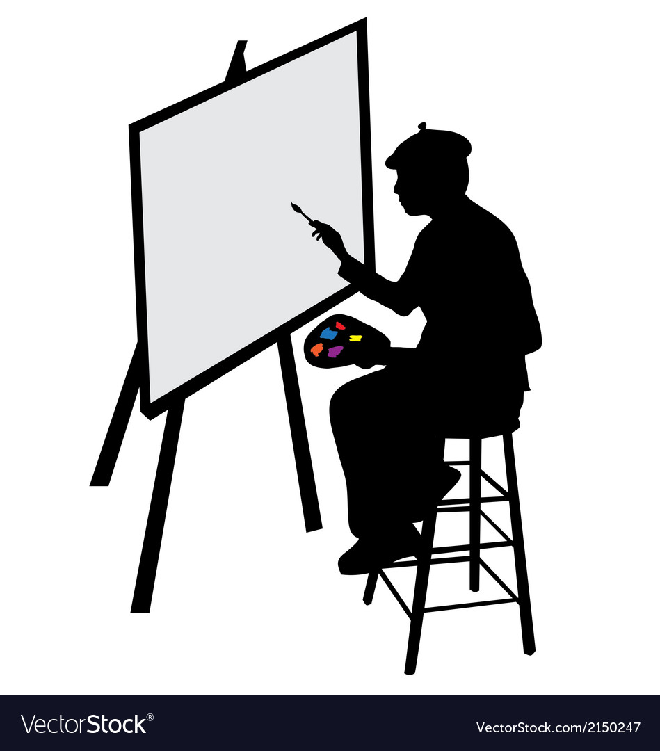 Artist with easel vector | Price: 1 Credit (USD $1)