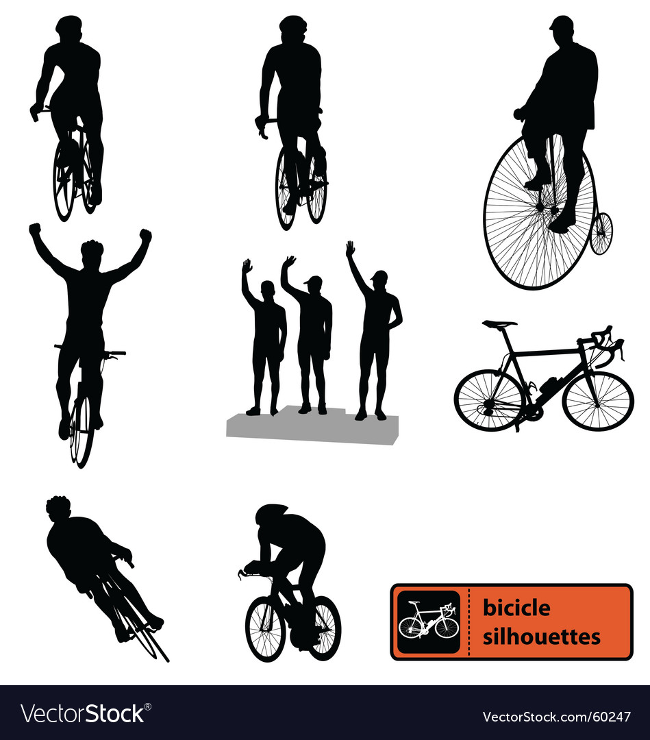 Bike silhouettes vector | Price:  Credit (USD $)