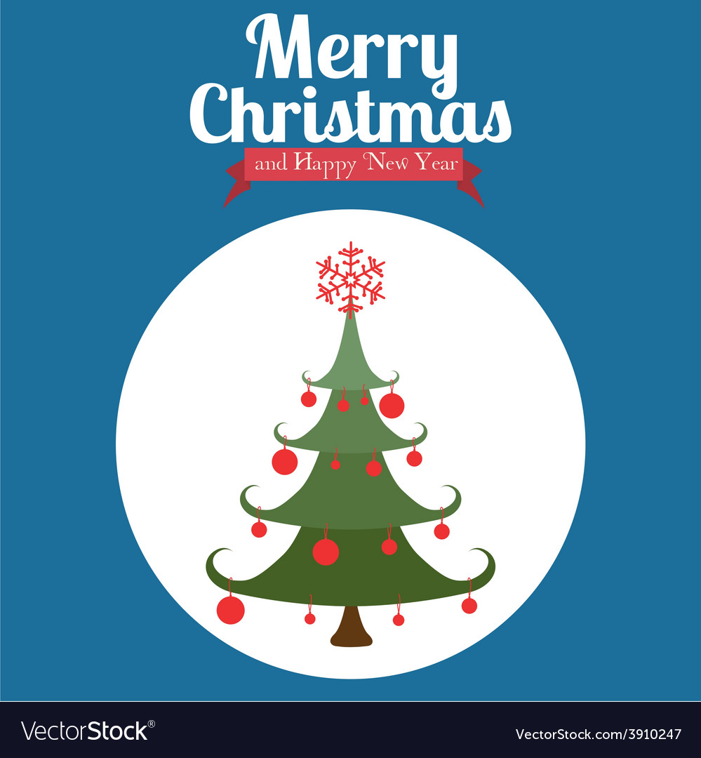 Christmas design over blue background vector | Price: 1 Credit (USD $1)