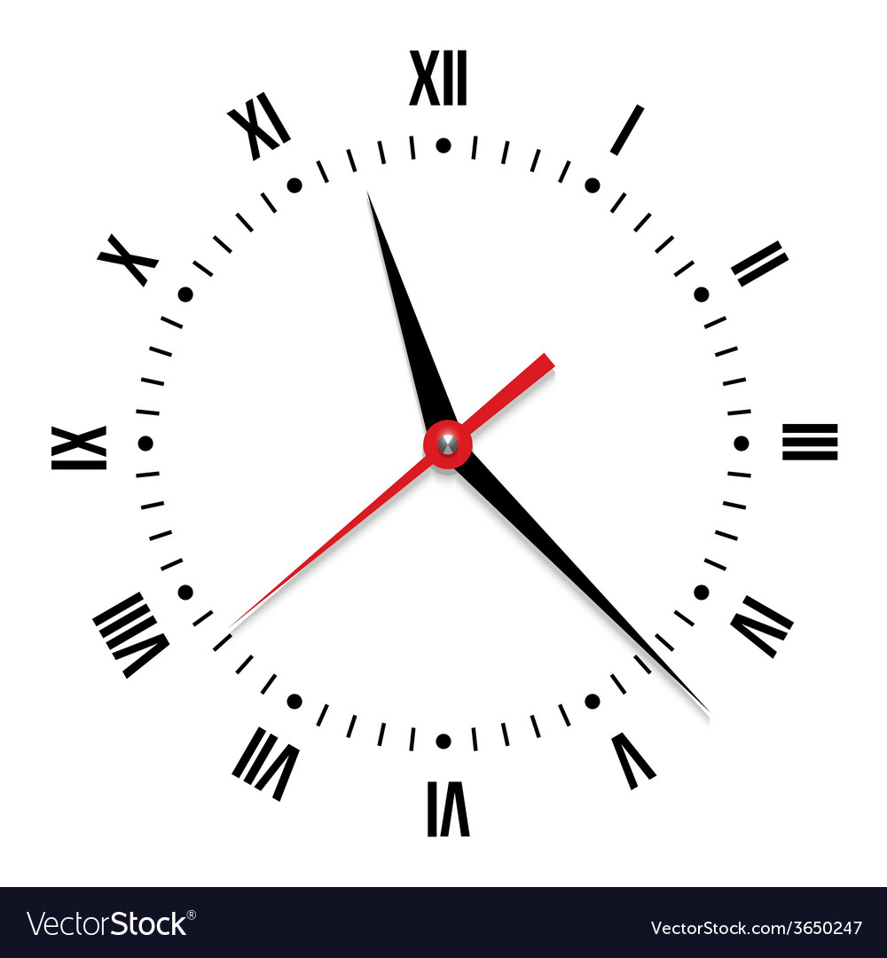 Clock on white background vector | Price: 1 Credit (USD $1)