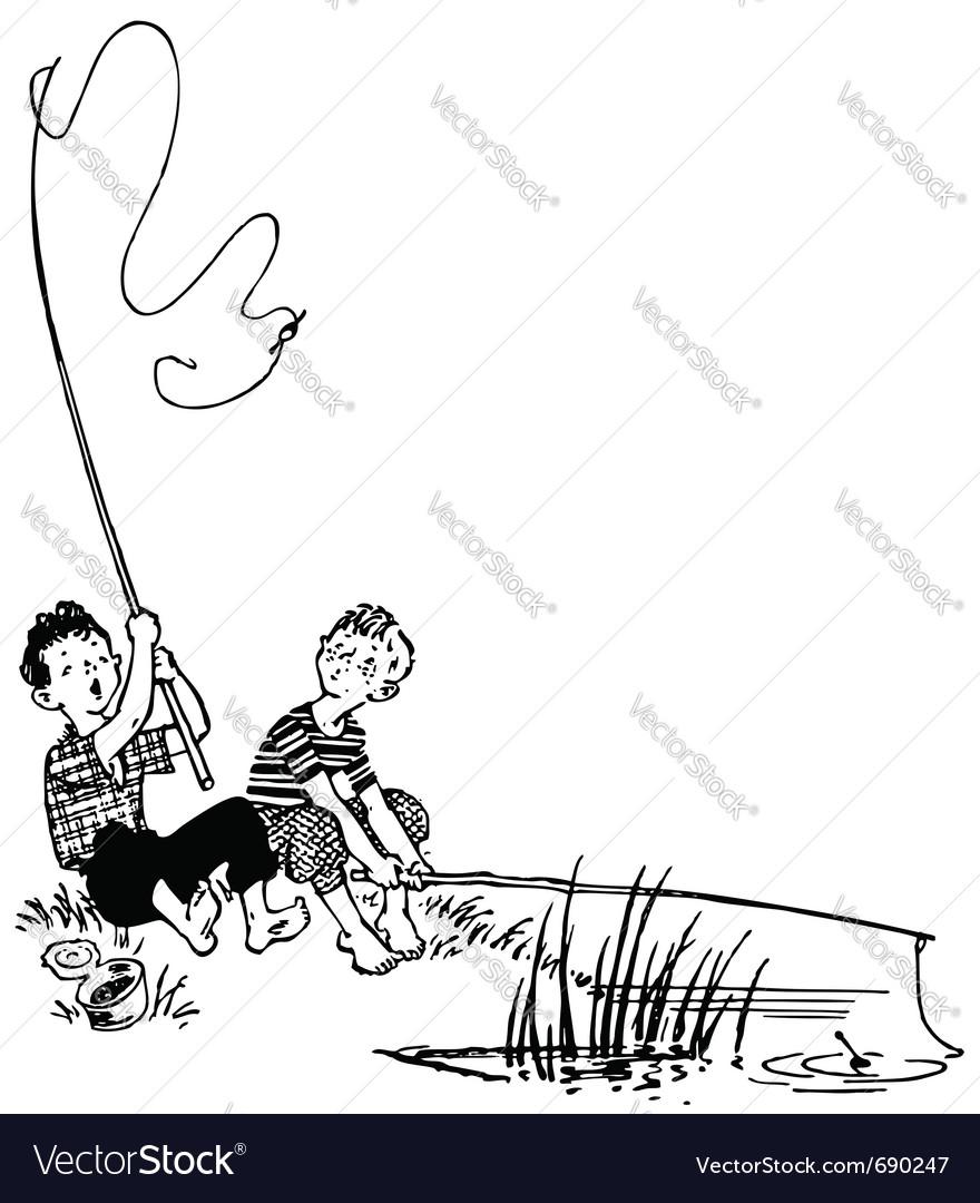 Fishing boys vector