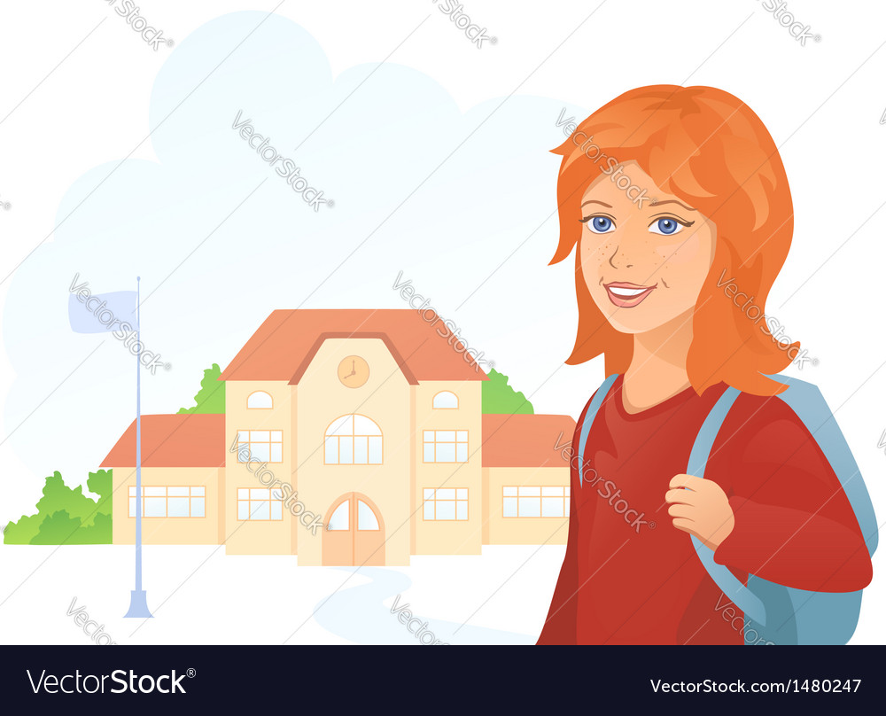 Girl at the school vector | Price: 3 Credit (USD $3)