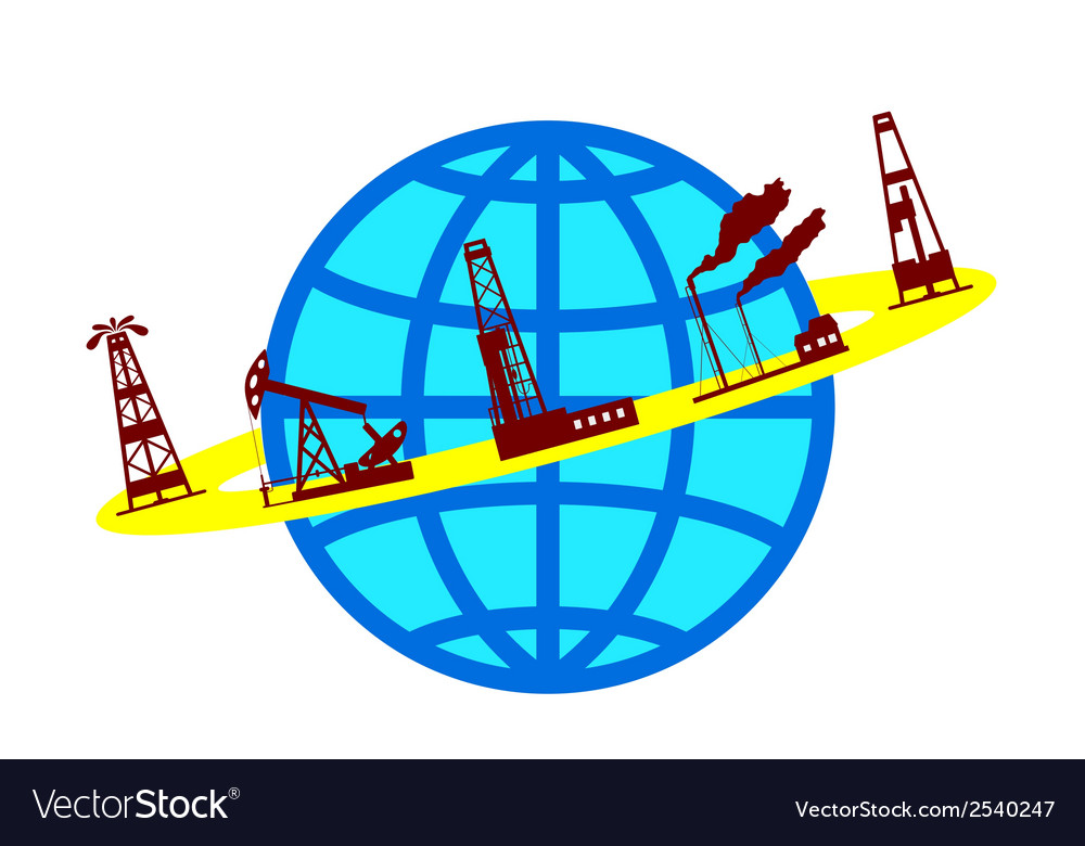 Globe and silhouettes of oil industry vector | Price: 1 Credit (USD $1)