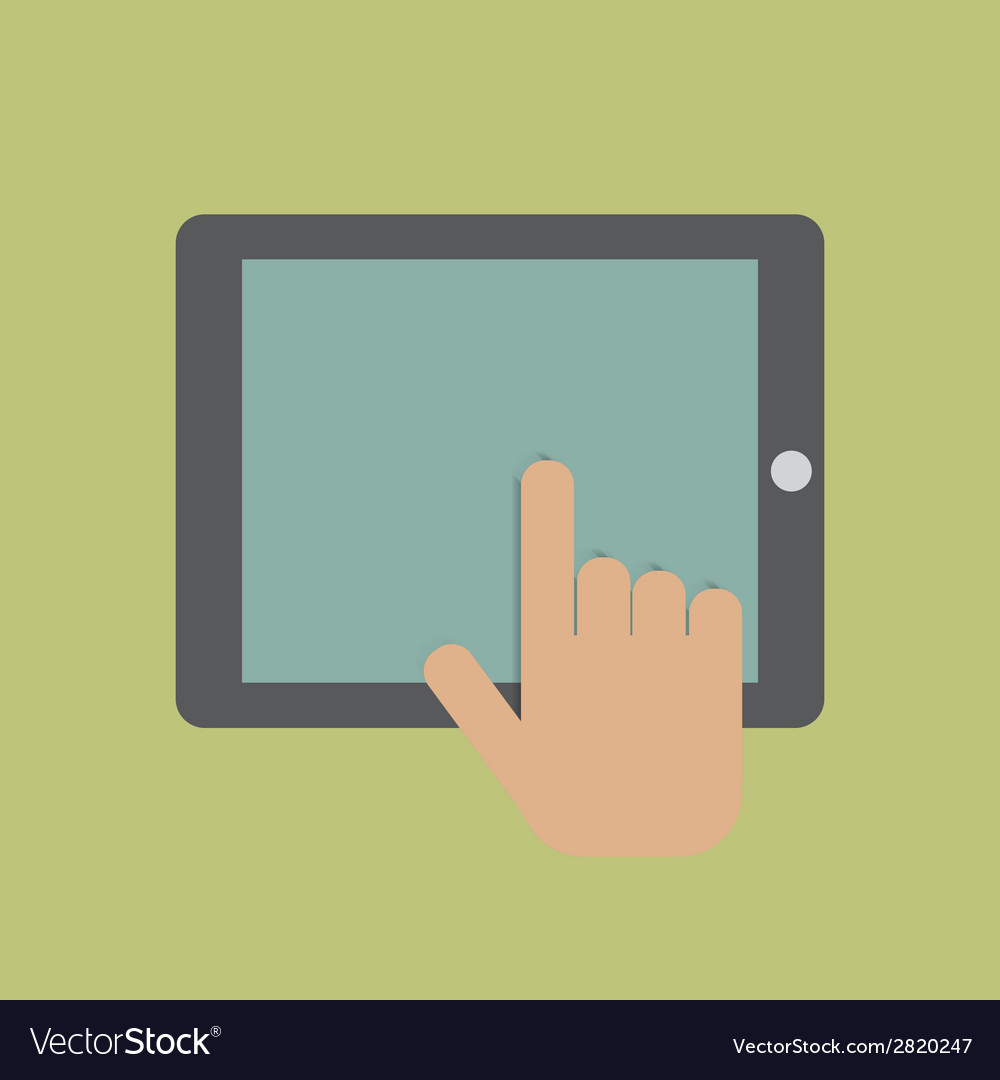 Hand touching digital tablet vector | Price: 1 Credit (USD $1)
