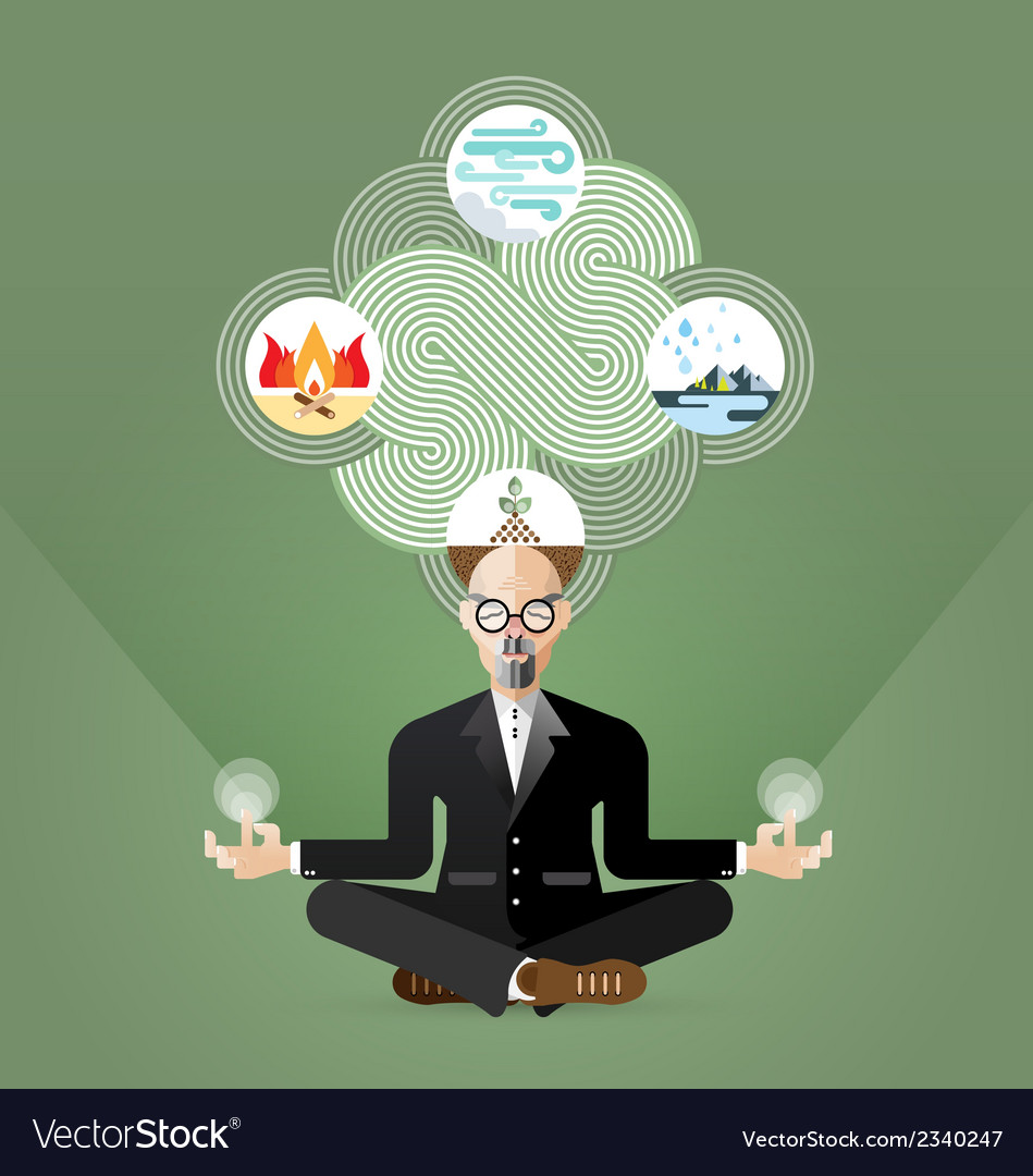 Old businessman yoga and zen meditating vector | Price: 1 Credit (USD $1)