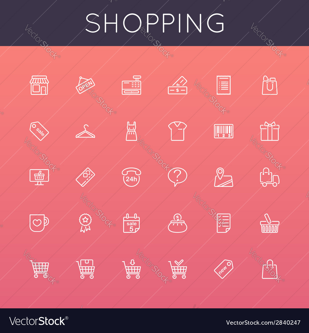 Shopping line icons vector | Price: 1 Credit (USD $1)