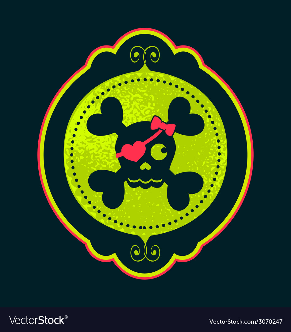 Skull girl cameo neon vector | Price: 1 Credit (USD $1)