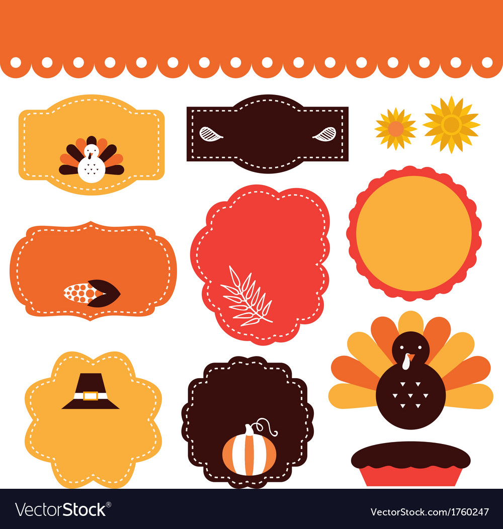 Thanksgiving retro tags and elements set vector | Price: 1 Credit (USD $1)
