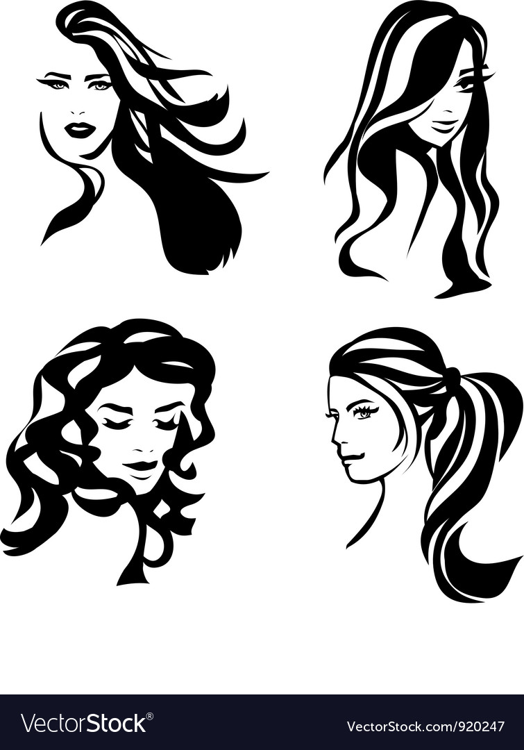 Woman hair silhouettes vector | Price: 1 Credit (USD $1)