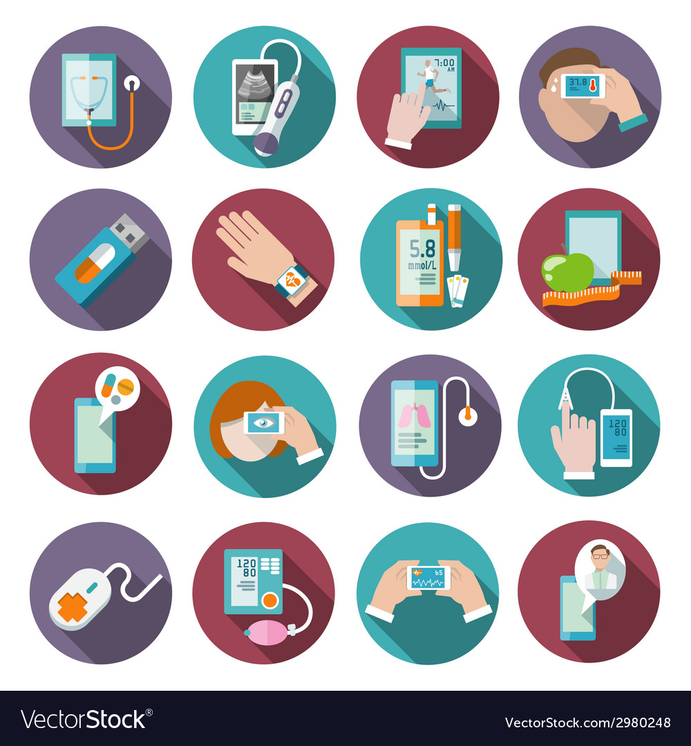 Digital health icons set vector | Price: 1 Credit (USD $1)