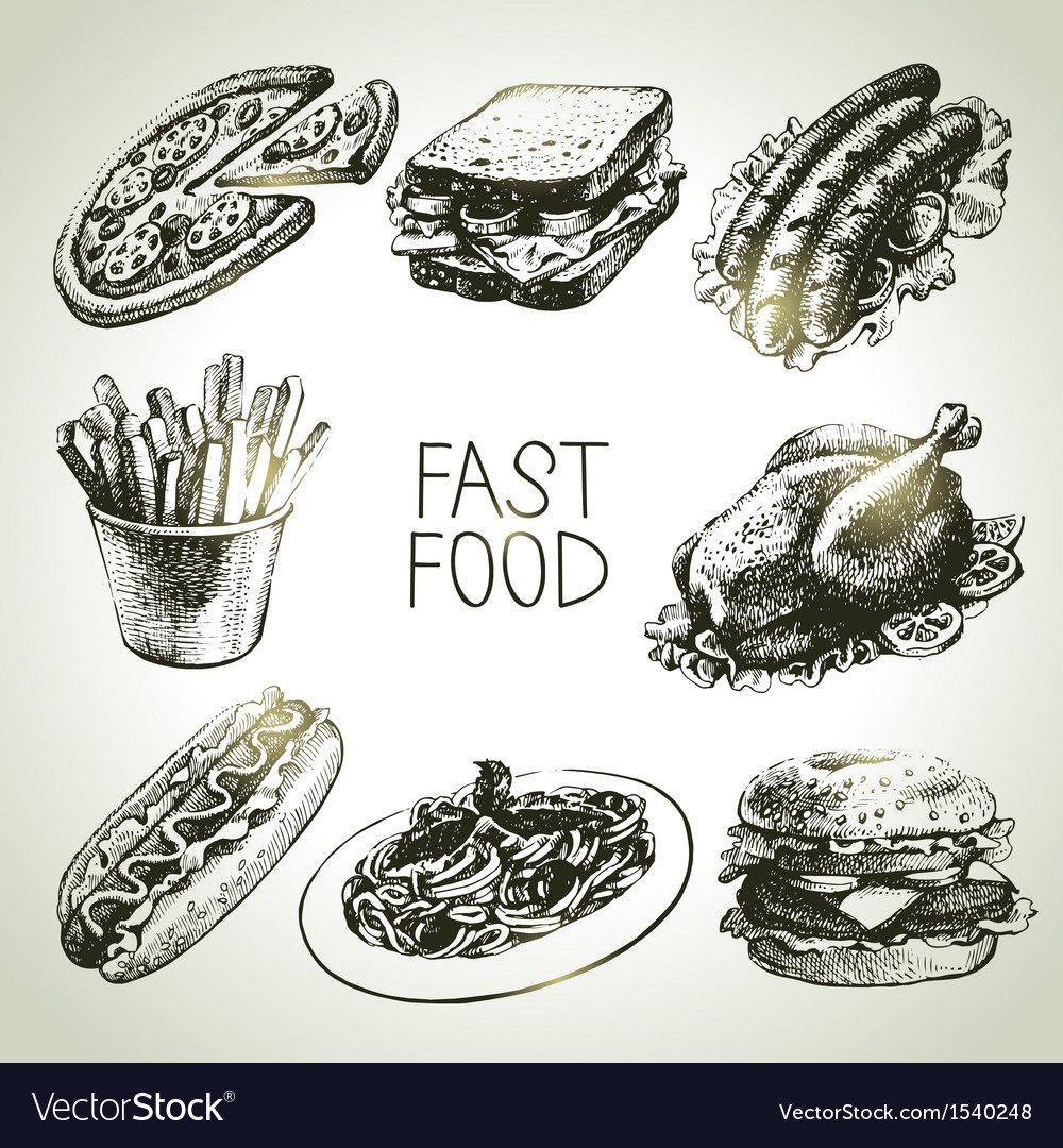 Fast food set vector | Price: 3 Credit (USD $3)