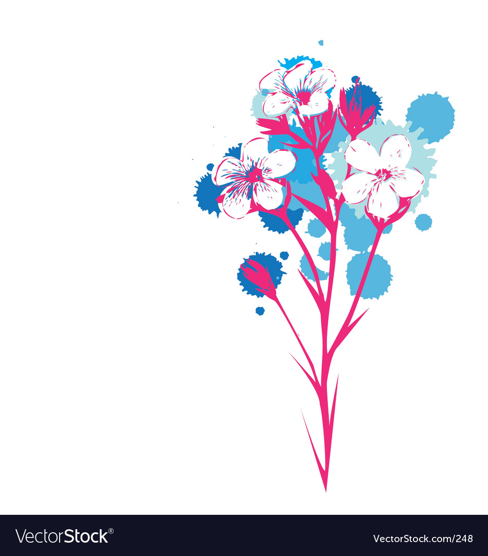 Flowers with ink drop colours vector | Price: 1 Credit (USD $1)