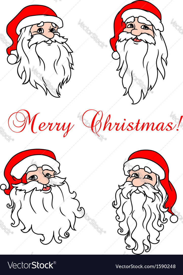 Four cheerful santa clouses vector | Price: 1 Credit (USD $1)
