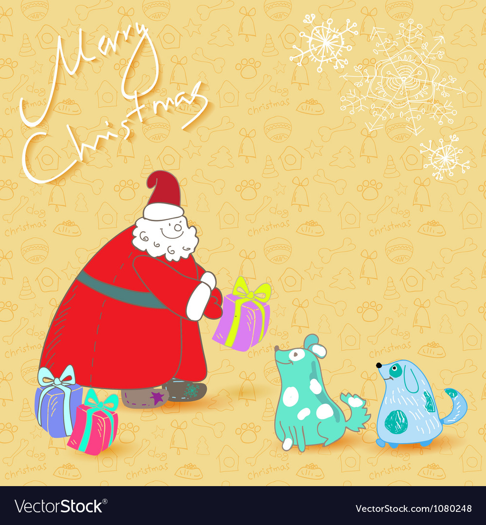 Fun christmas card santa and blue dogs vector | Price: 1 Credit (USD $1)