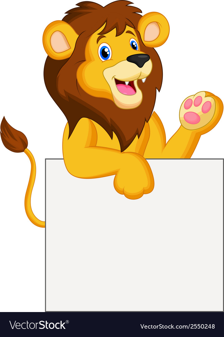 Happy lion cartoon holding blank sign vector | Price: 1 Credit (USD $1)