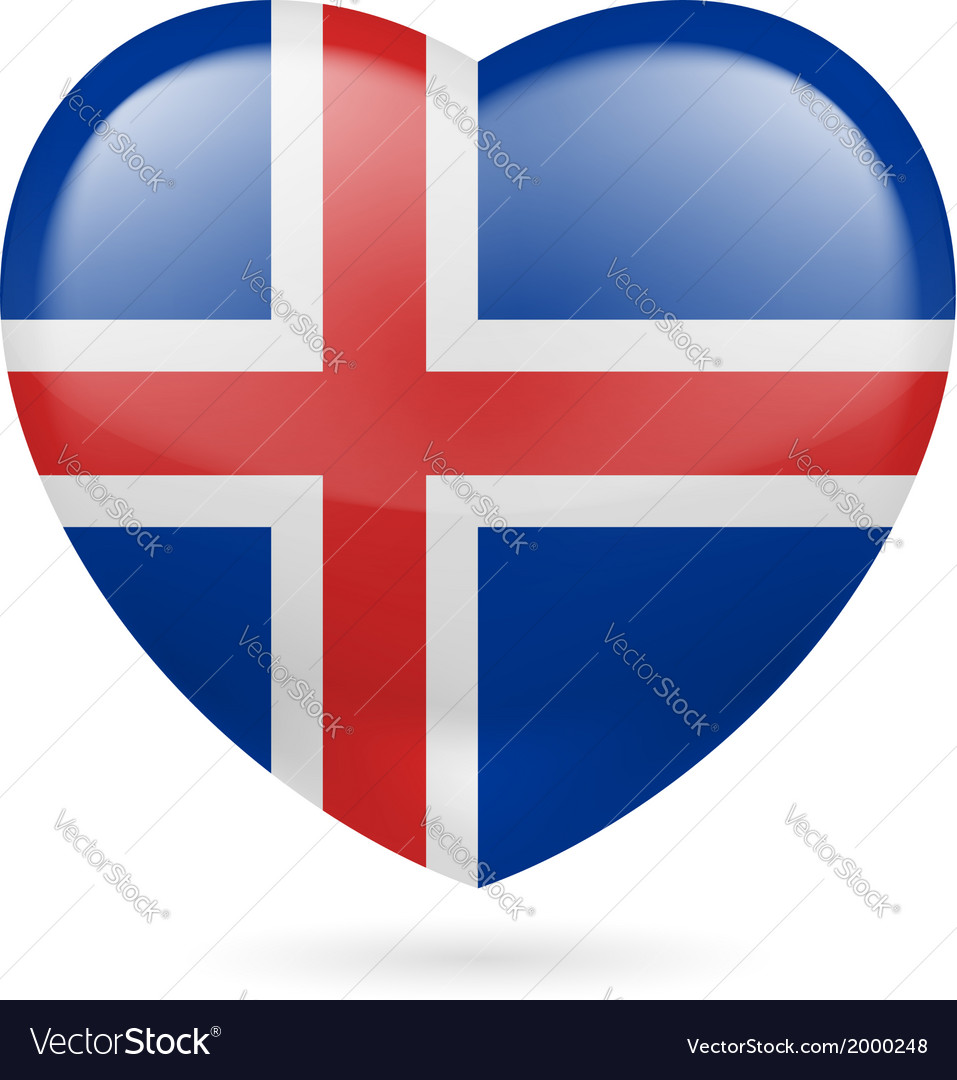 Heart icon of iceland vector   Price: 1 Credit (USD $1)
