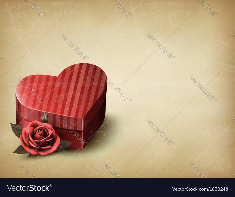 Holiday vintage valentines day background red rose vector | Price: 1 Credit (USD $1)