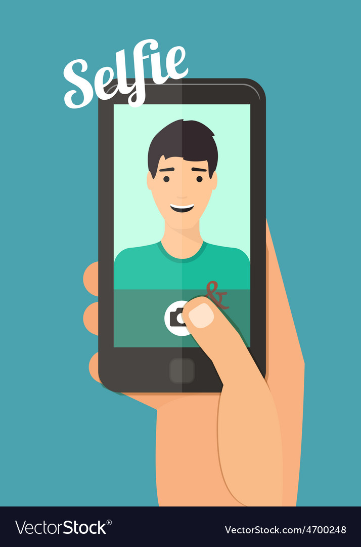 Man taking selfie vector | Price: 1 Credit (USD $1)