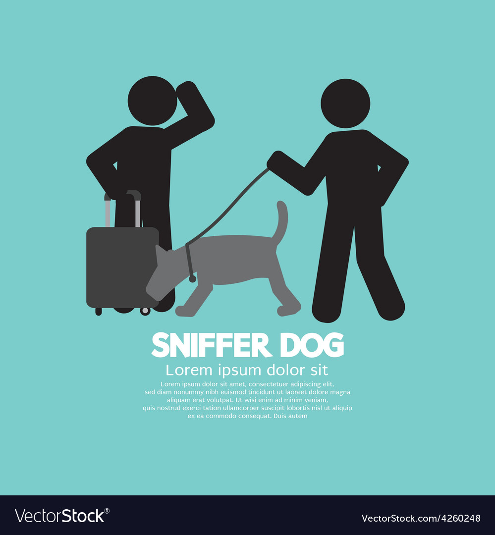 Sniffer dog smell at travellers luggage vector | Price: 1 Credit (USD $1)