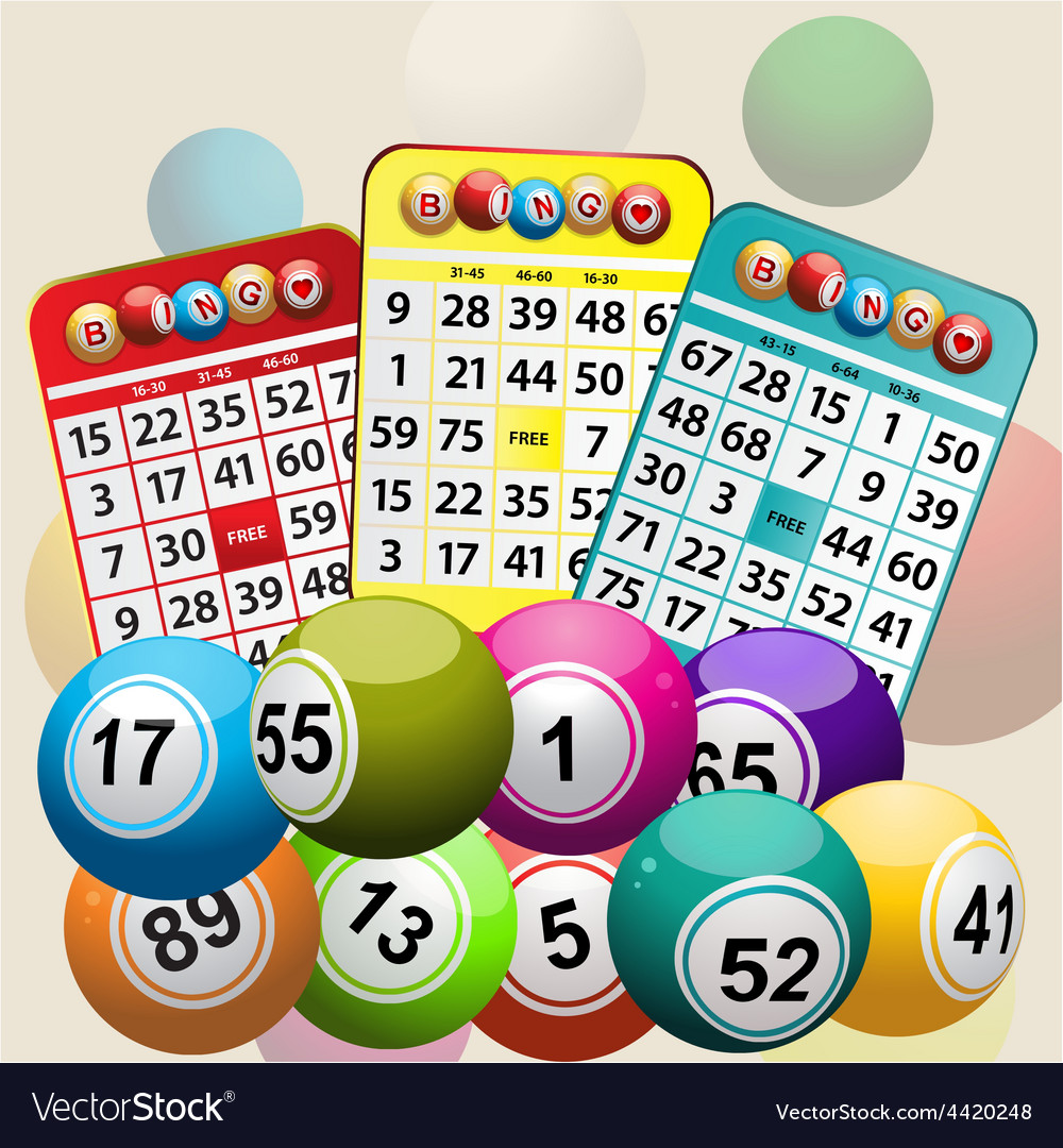 Three bingo cards and bingo balls background vector